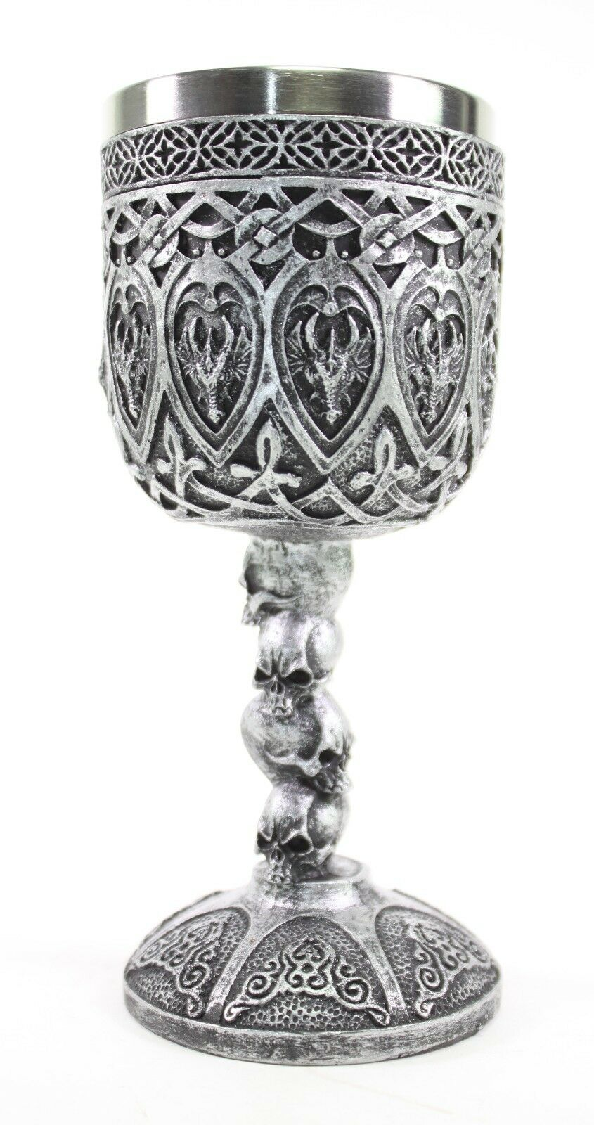 Silver Royal Dragon Wine Goblet Skulls Medieval Collectible Home Decor Gift Aud