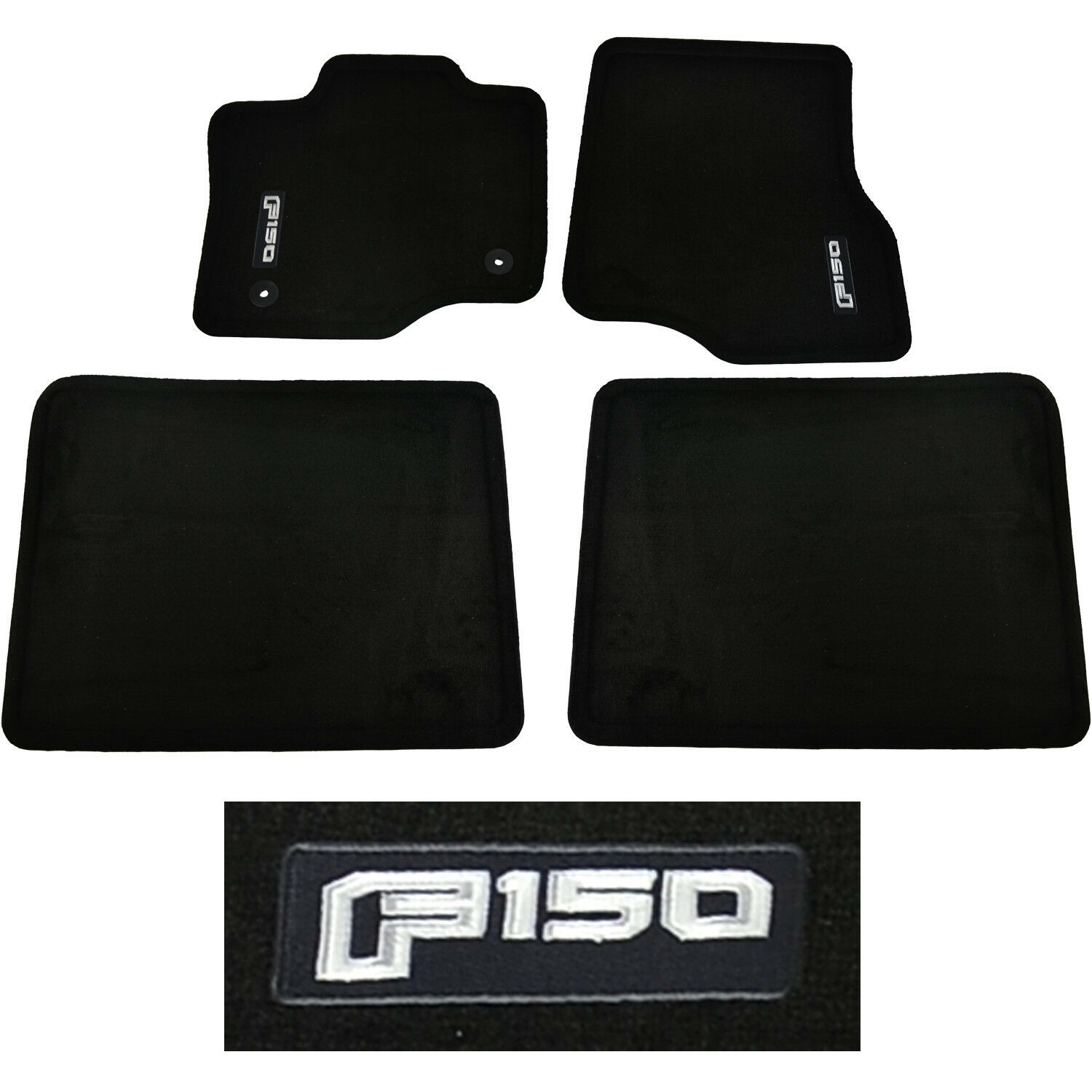 Oem New   Ford F  Crew Cab Carpet Floor Mats Black Embroidered Only  Available See More