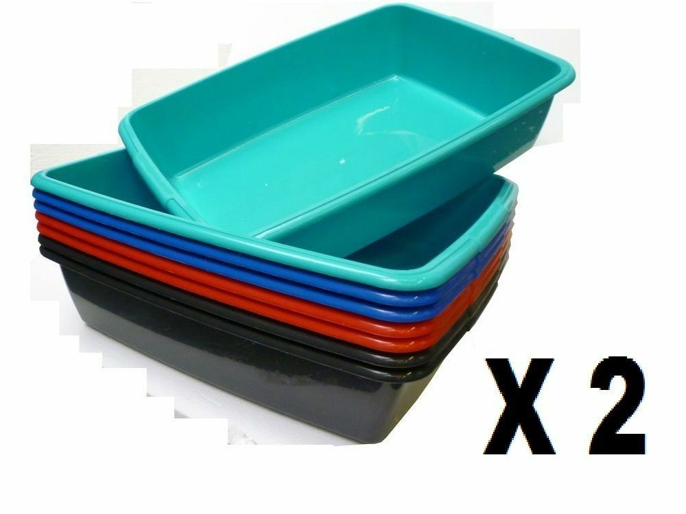 Large Pet Litter Tray Plastic Cat Kitten Dog Animal Toilet Tray Set Of X 2 New