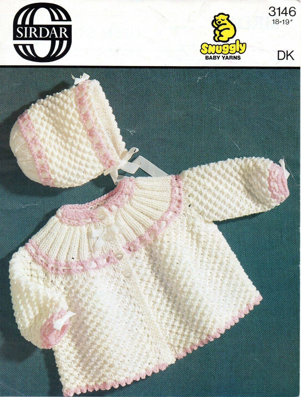 Old Sirdar Knitting Patterns : Sirdar 3146 Vintage Repro Knitting Pattern Baby Girls Cardigan Hat DK 18-19&q...