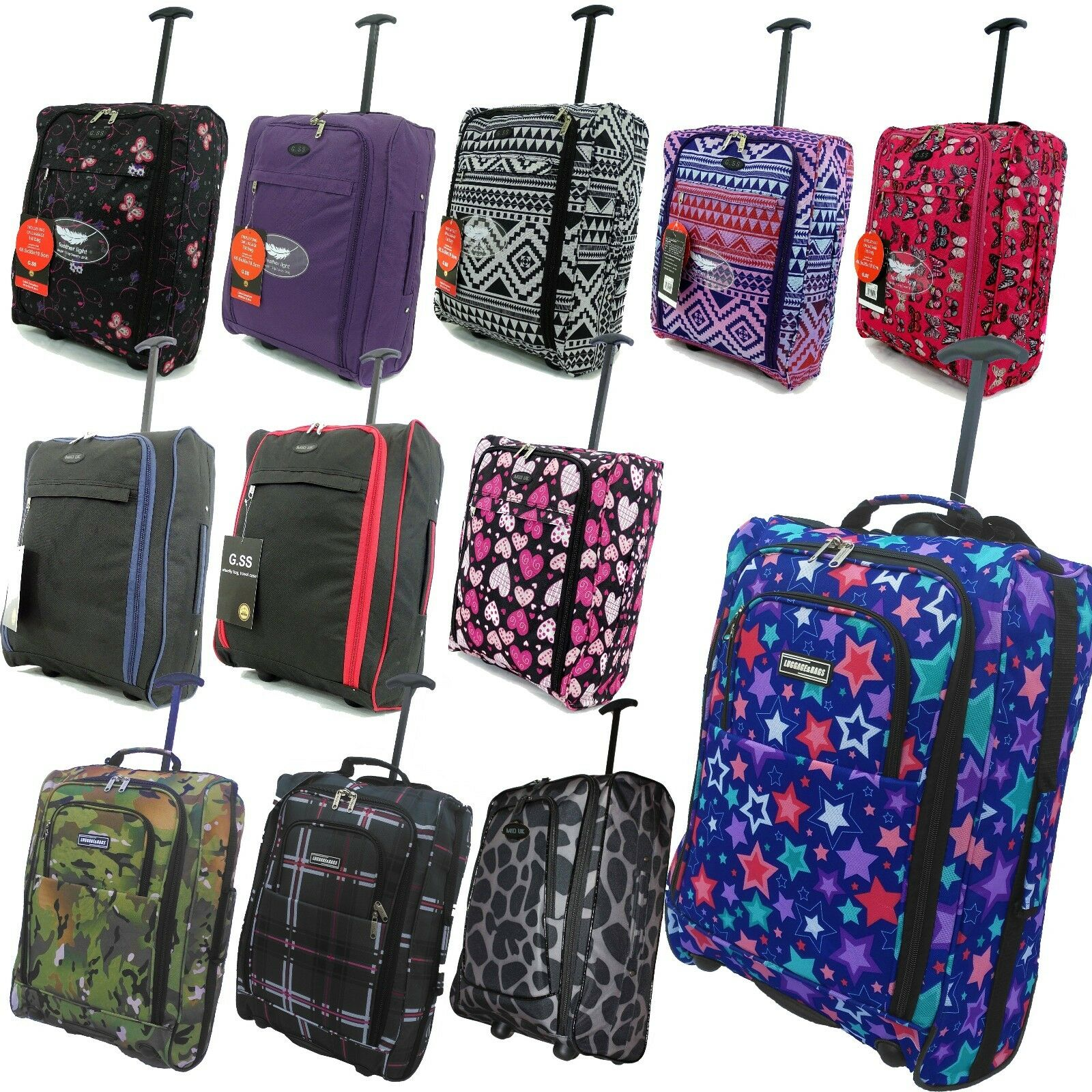 new hand luggage 50x40x20 wheeled owl lightweight cabin