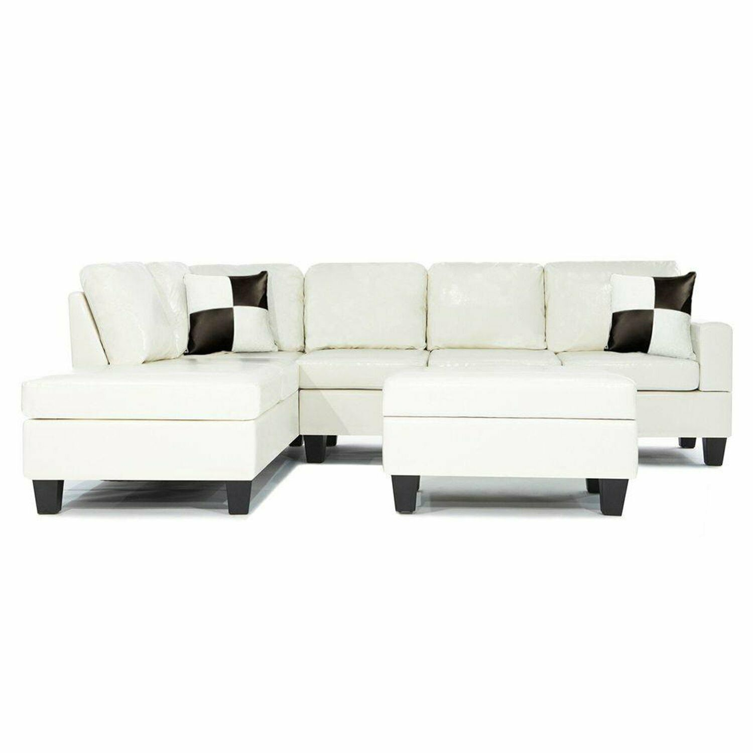 Bonded Leather White Modern Reversible Sectional Couch  Sofa Chaise Ottoman  1 Of 1Only 3 Available ...