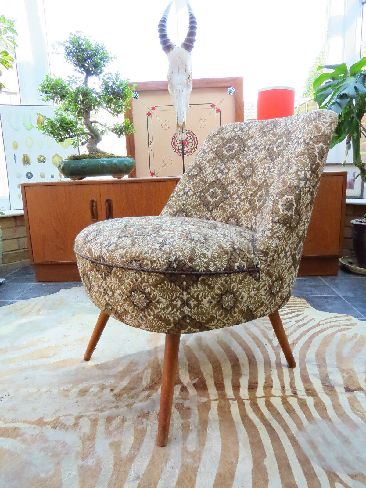 SINGLE 1960s VINTAGE EAST GERMAN COCKTAIL CHAIR (A16/41) ORIGINAL CONDITION