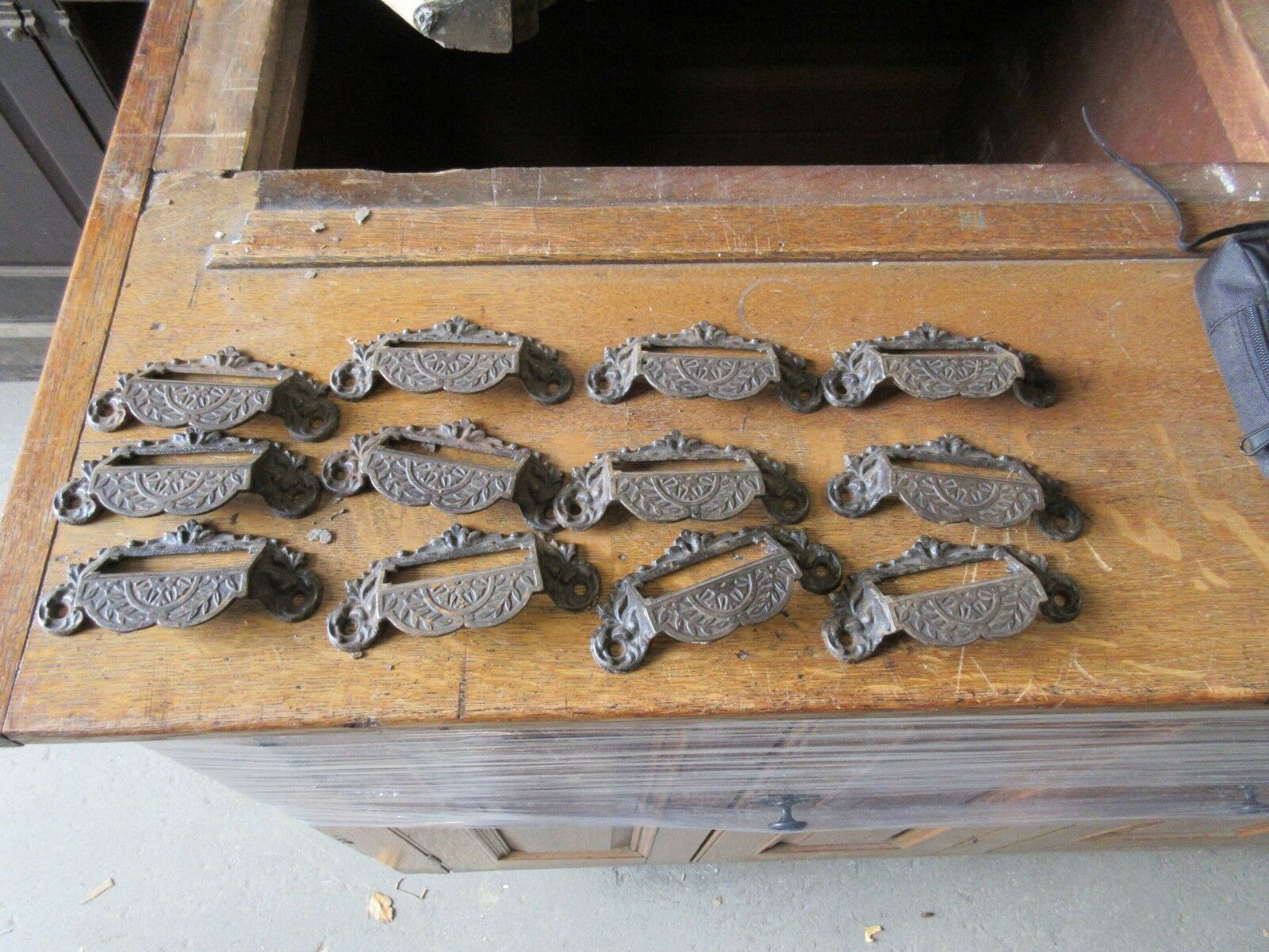 "c1880 SET of 12 matching authentic VICTORIAN cabinet pull hardware 4"" on holes"