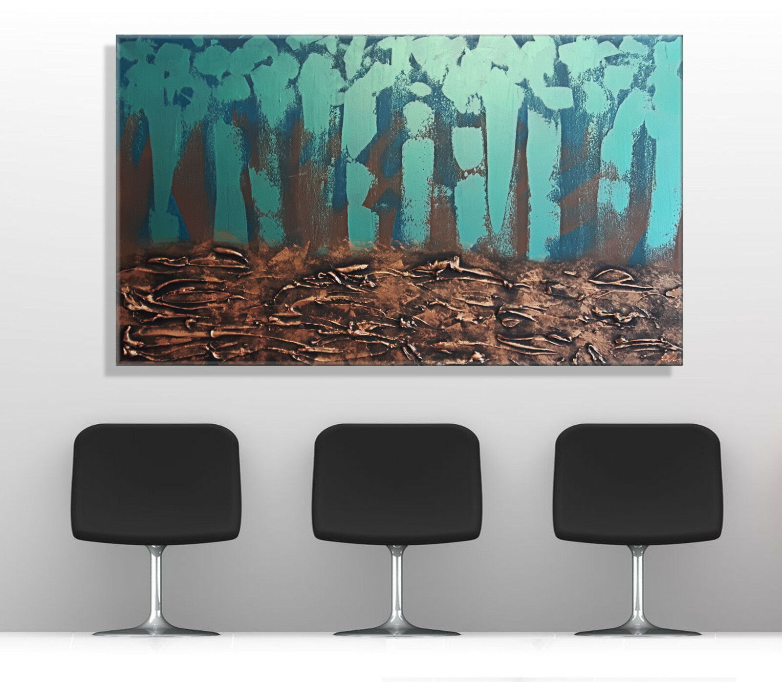 mk1 art bild leinwand abstrakt gem lde kunst bilder malerei t rkis braun xxl eur 439 00. Black Bedroom Furniture Sets. Home Design Ideas