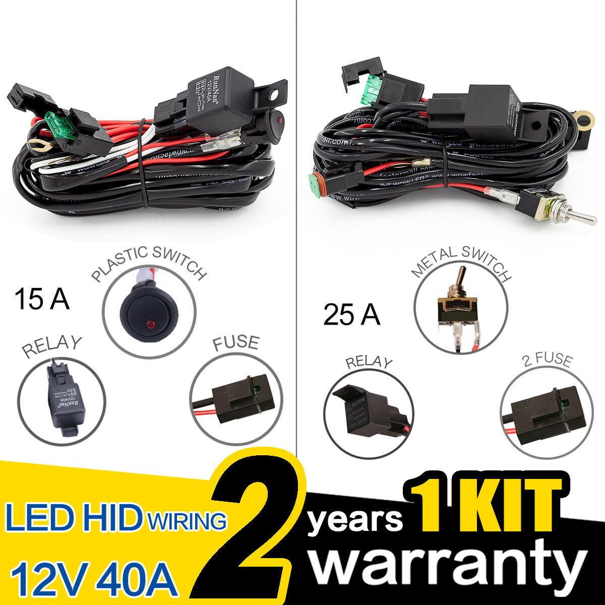 Wow Premium Led Hid Driving Light Bar Wiring Harness 12v 25a 15a Lightbar Switch Relay 1 Of 7free Shipping See More