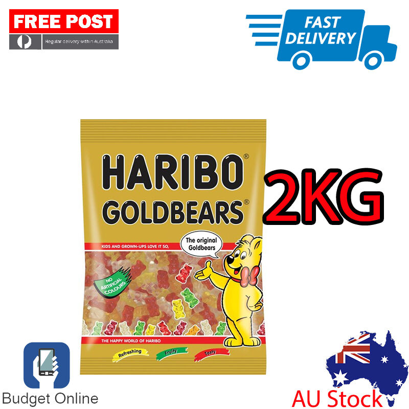 Brand New 2Kg Haribo Goldbears Gummy Bears Australian Stock Free Fast Shipping