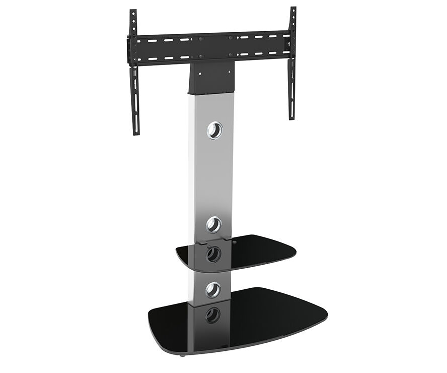 Gloss Silver Tv Stand Cantilever With Tv Mount Bracket For