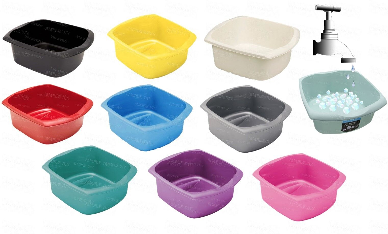 Addis Large Washing Up Bowl Oblong Kitchen Sink Tub Plastic Wash Coloured Bowls 1 Of 1free Shipping See More