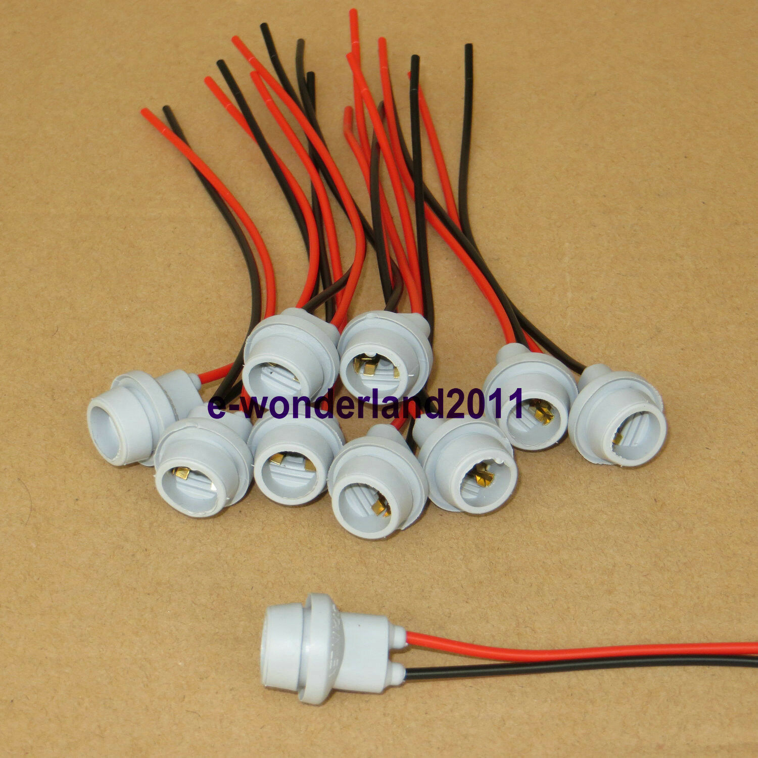 10 X Connectors Socket Bulb Light Harness Pigtail T10 168 194 Rubber Led Wiring 1 Of 3free Shipping