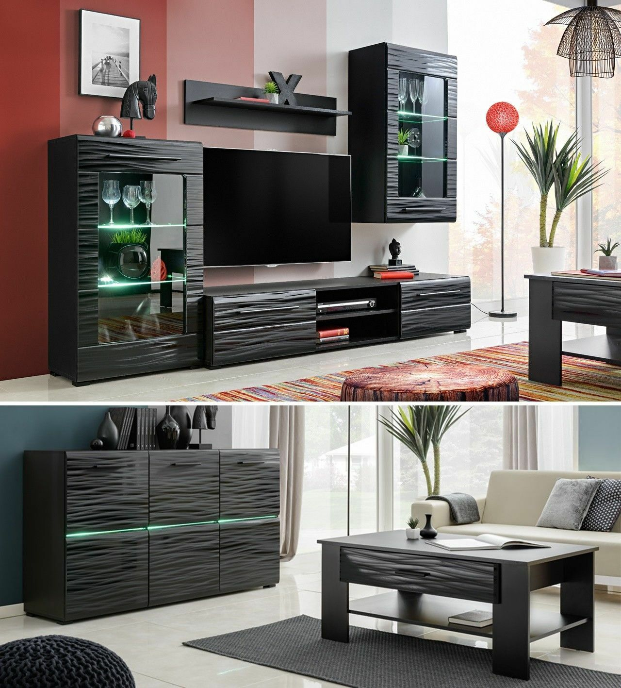 Living Room High Gloss Furniture Display Wall Unit Modern