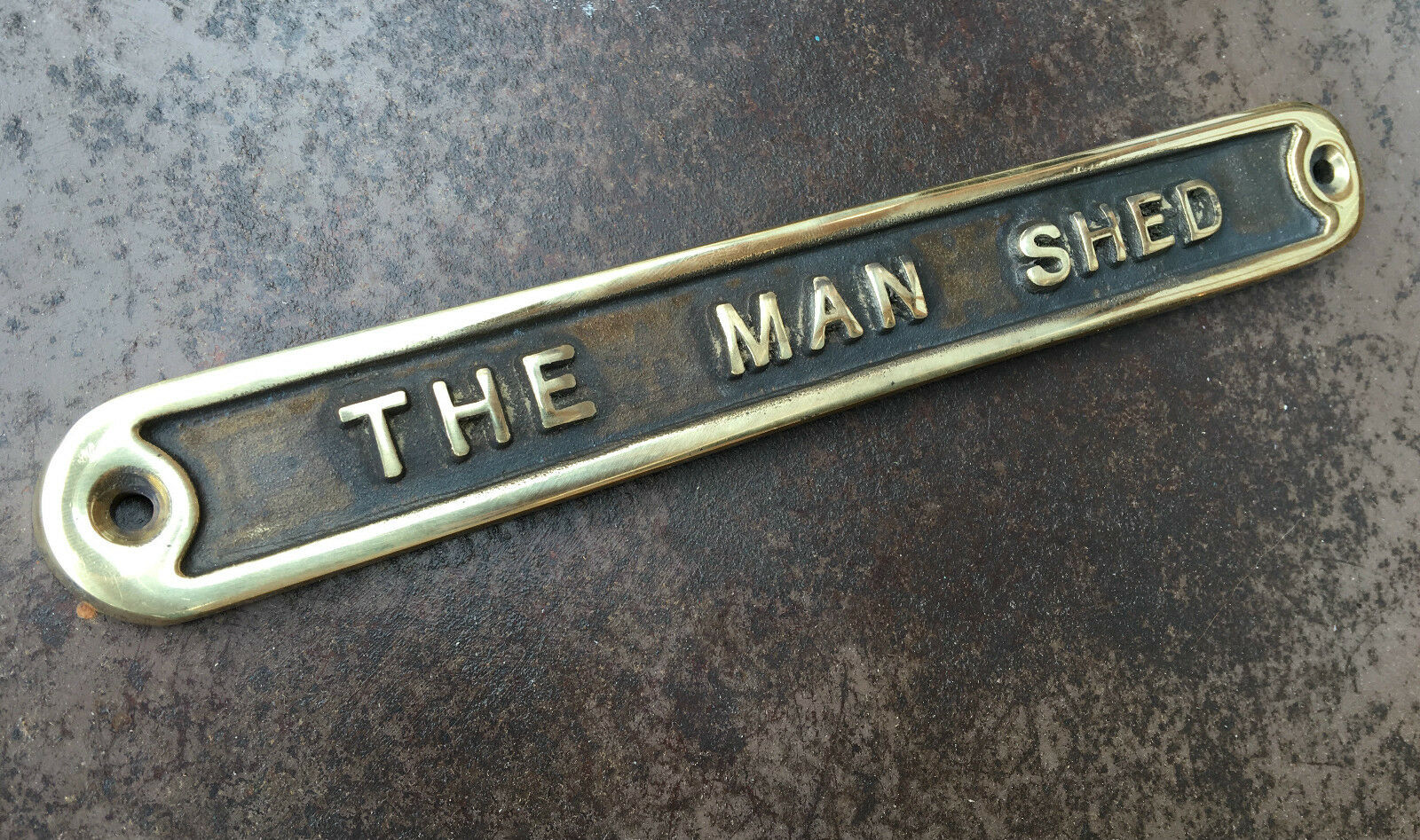 39 the man shed 39 door sign shed garage vintage solid cast for Plaque w garage assurance