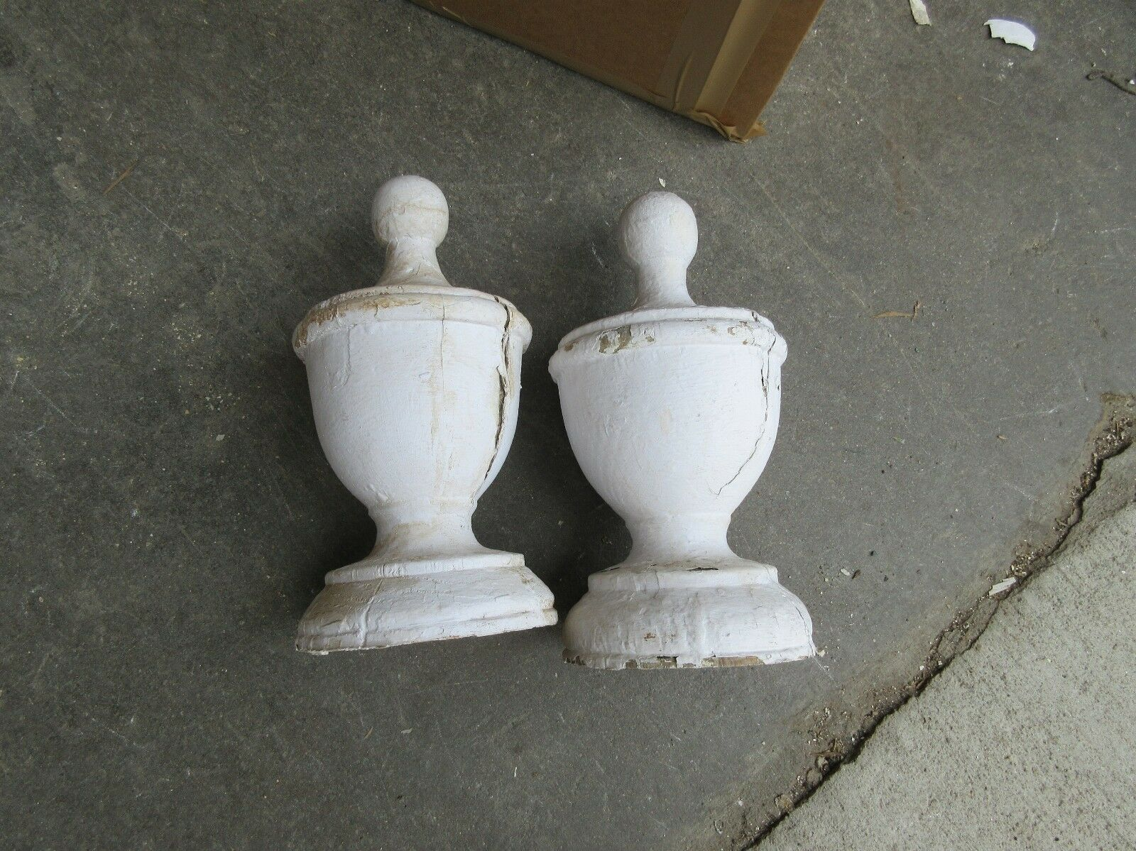 "PAIR white VICTORIAN era wooden fence post cap FINIALS ~ large - 10""h x 5.75 dia"