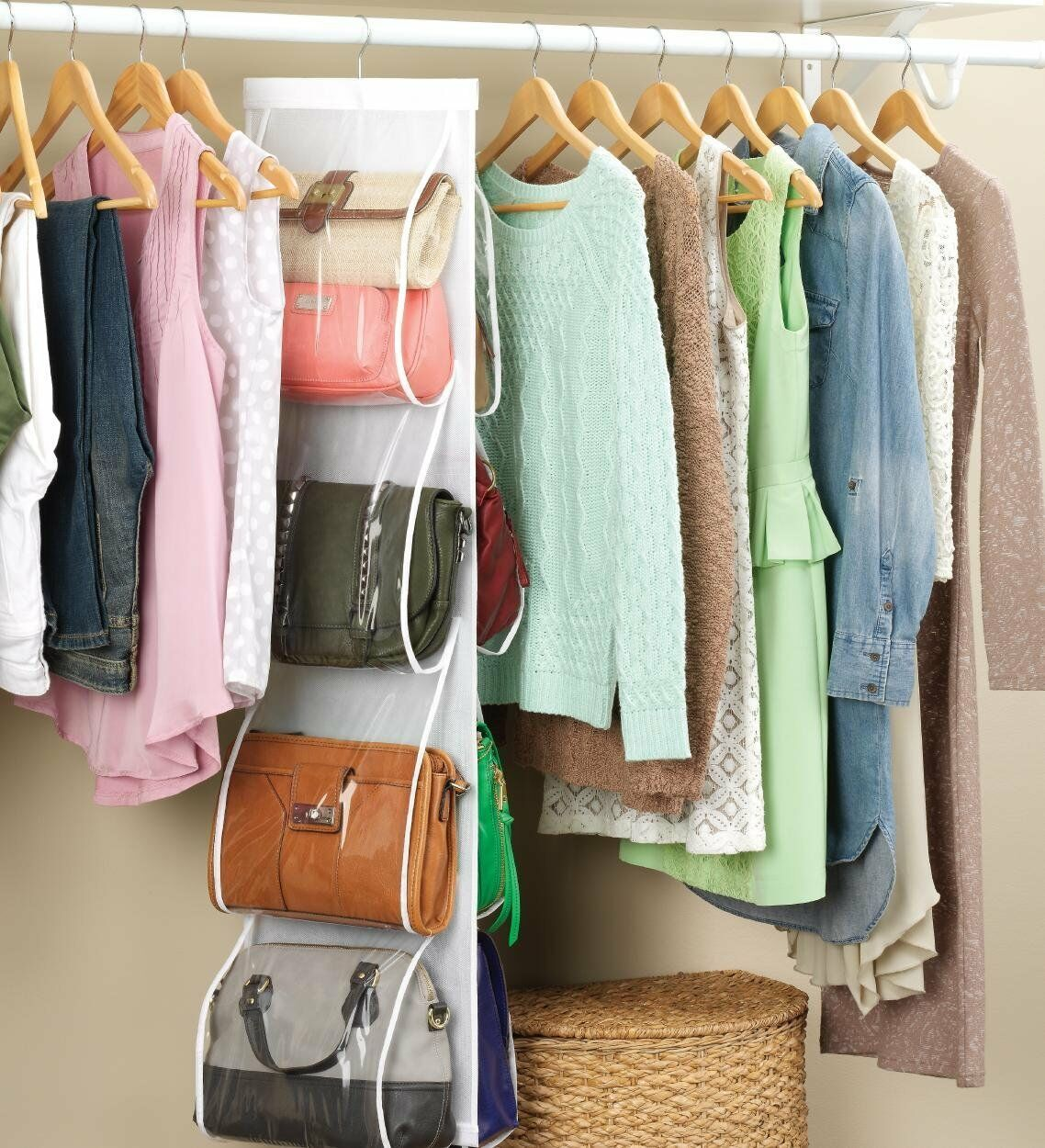 Genial 8 Pocket Purse Organizer Storage Rack Closet Handbag Hanging Wardrobe Space  Safe