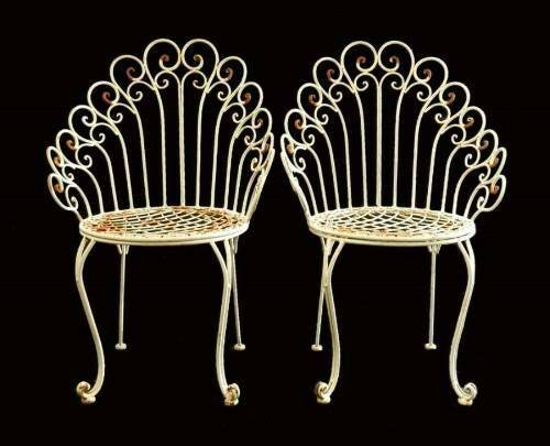 Pair French Garden Chairs Iron early C20 Conservatory Patio White