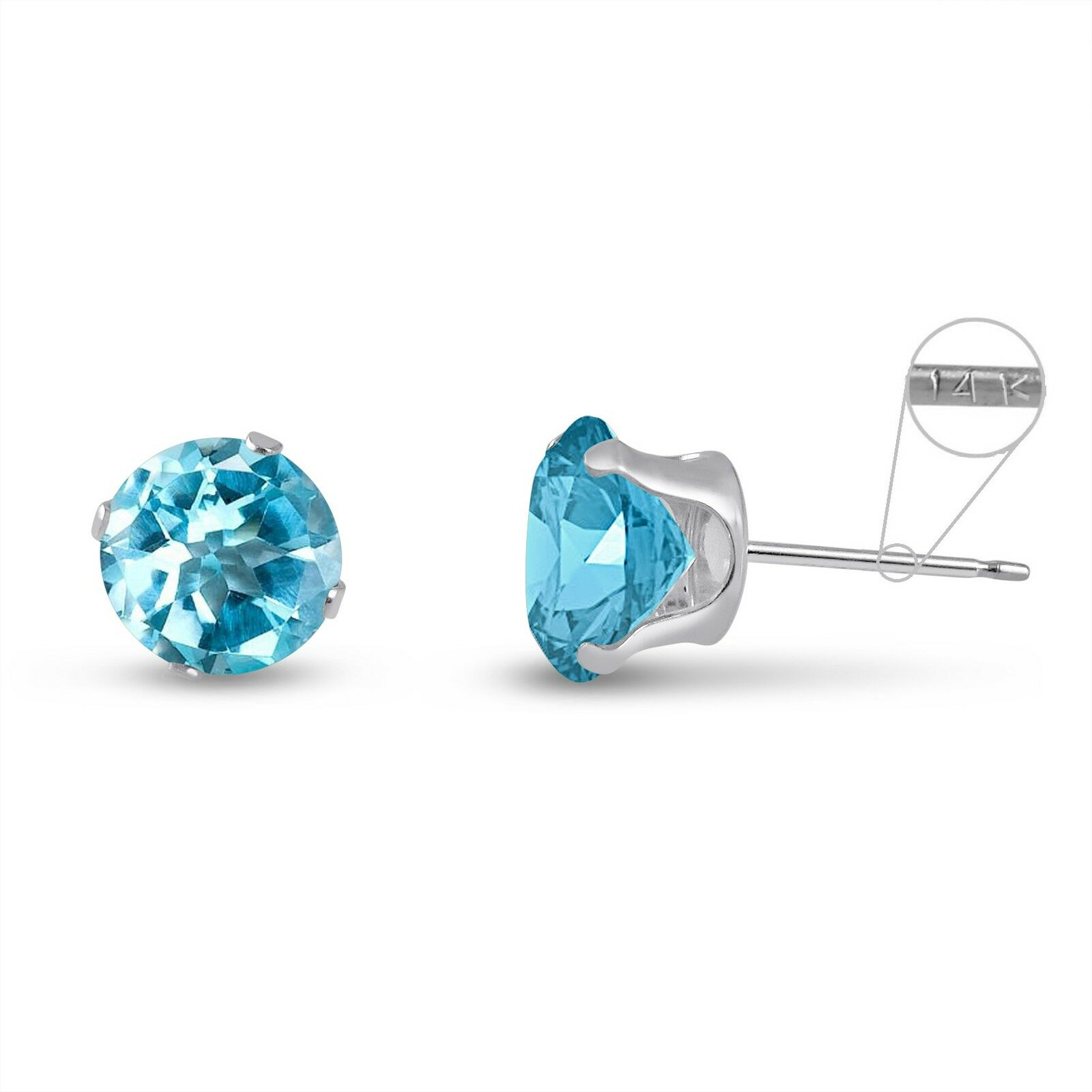 Solid 14k White Gold Round Genuine Sky Blue Topaz March Stud Earrings 2mm 8mm 1 Of 1free Shipping