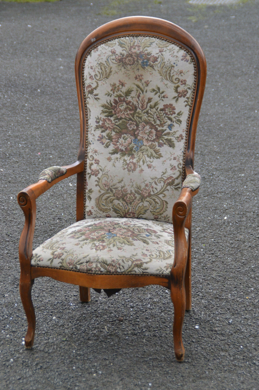 Antique French Tall Back Upholstered Chair Shabby Chic