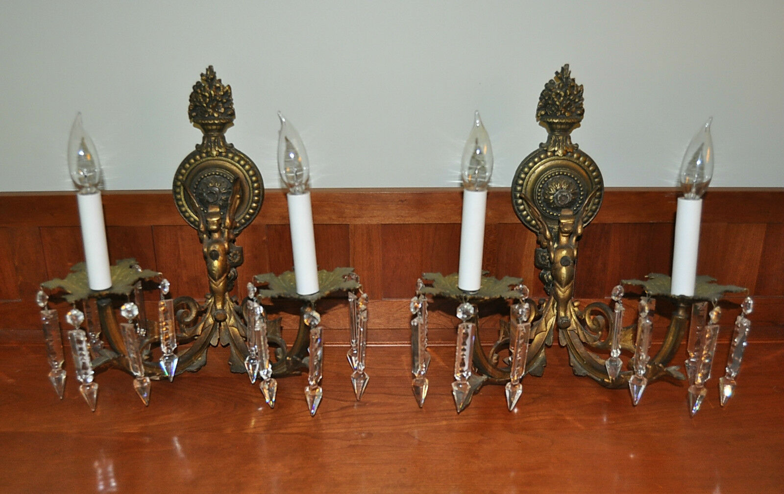 1920s PAIR BRONZE GRIFFIN ADORNED 2-ARM WALL SCONCES with CRYSTALS LOUIS XV !!
