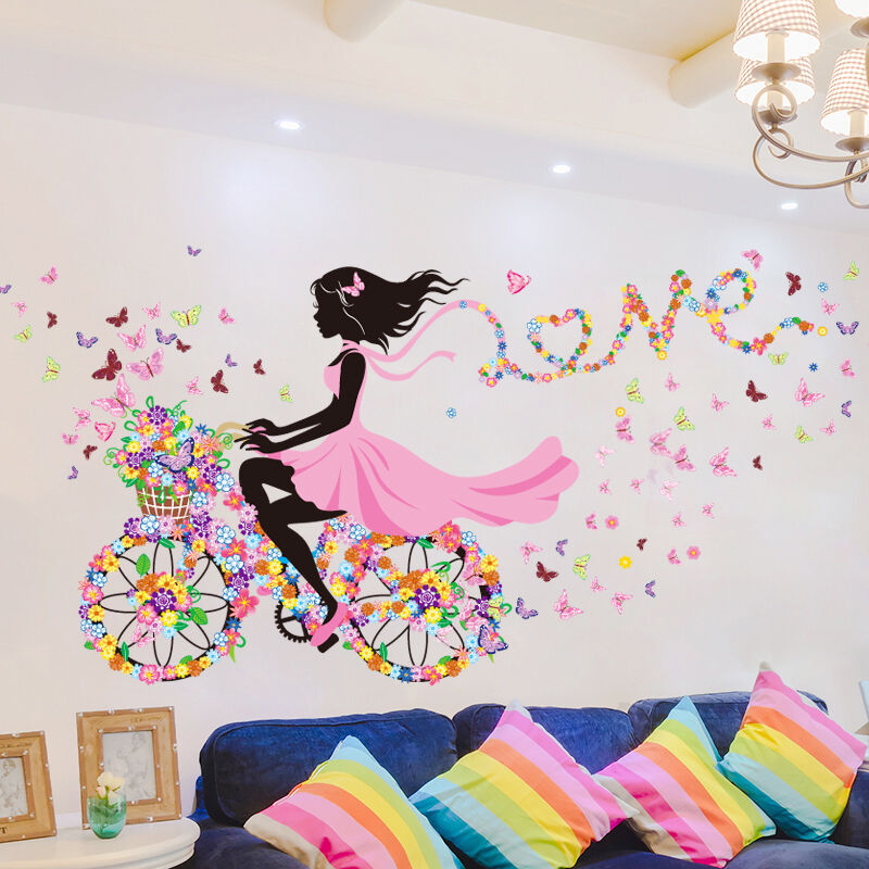 1 fahrrad blumen m dchen wandaufkleber wandsticker. Black Bedroom Furniture Sets. Home Design Ideas