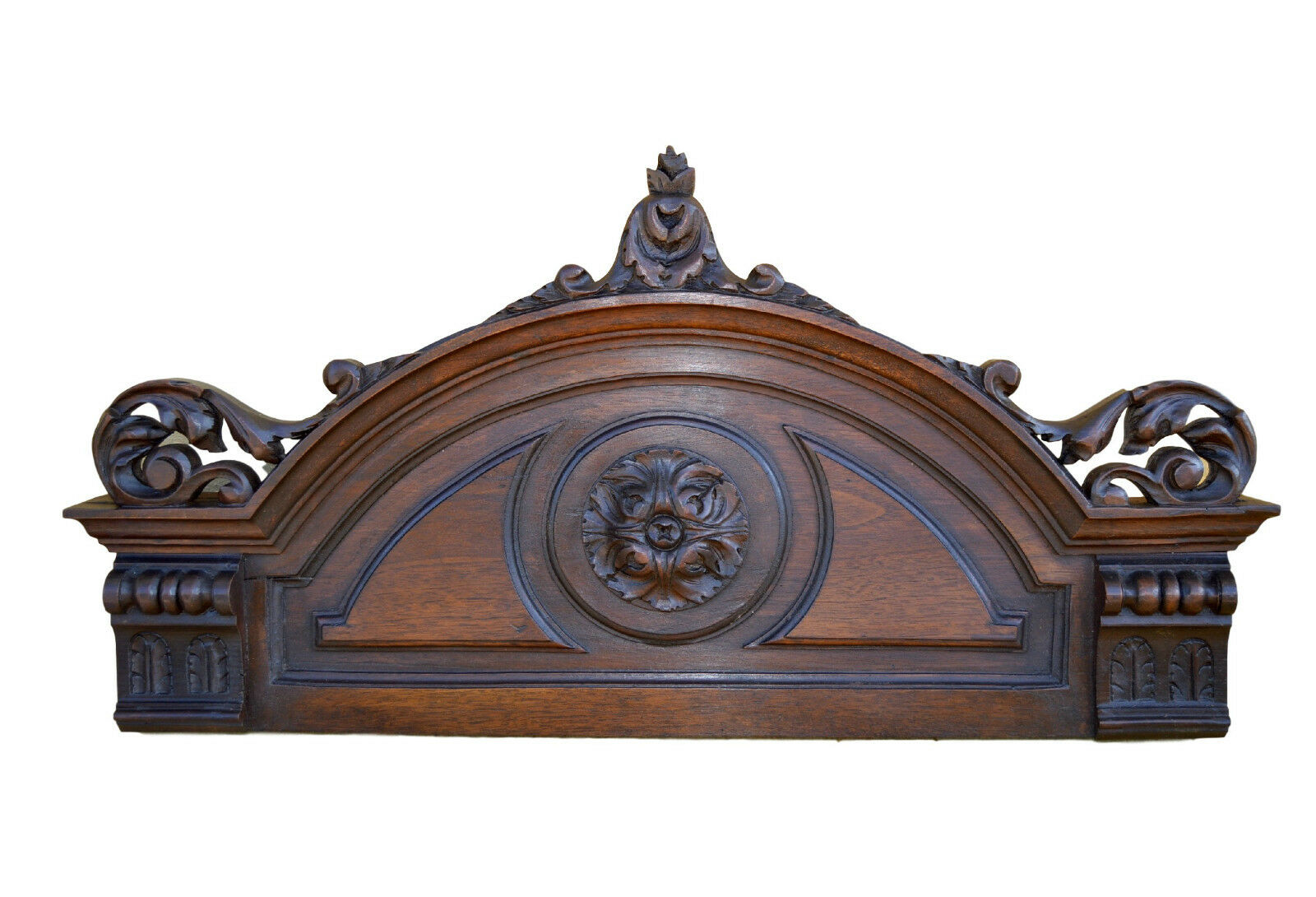 "12"" French Wood Architectural Salvage Pediment Furniture Ornament Above Door"