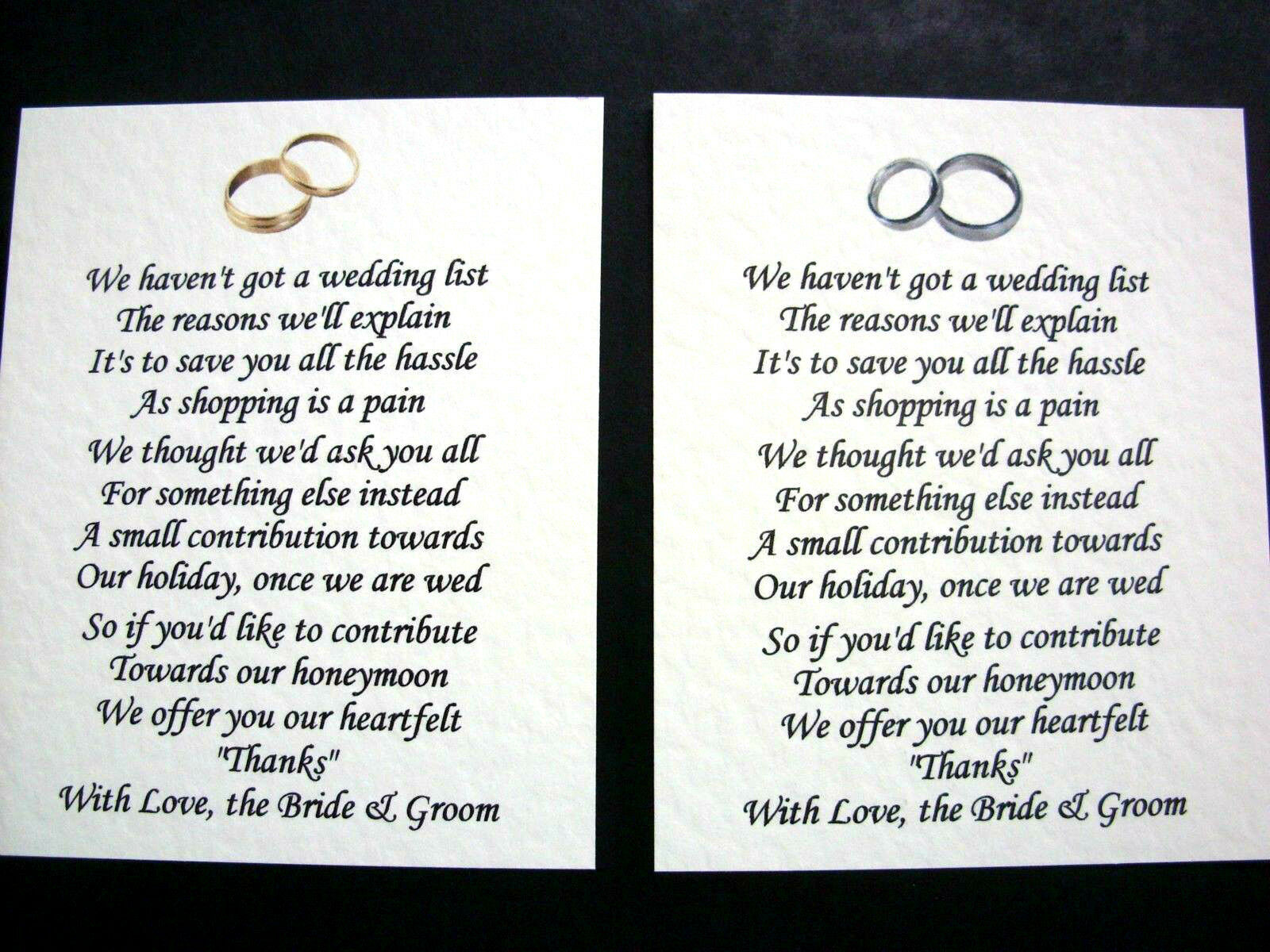 20 wedding poems asking for money gifts not presents ref no 1 - 28 ...