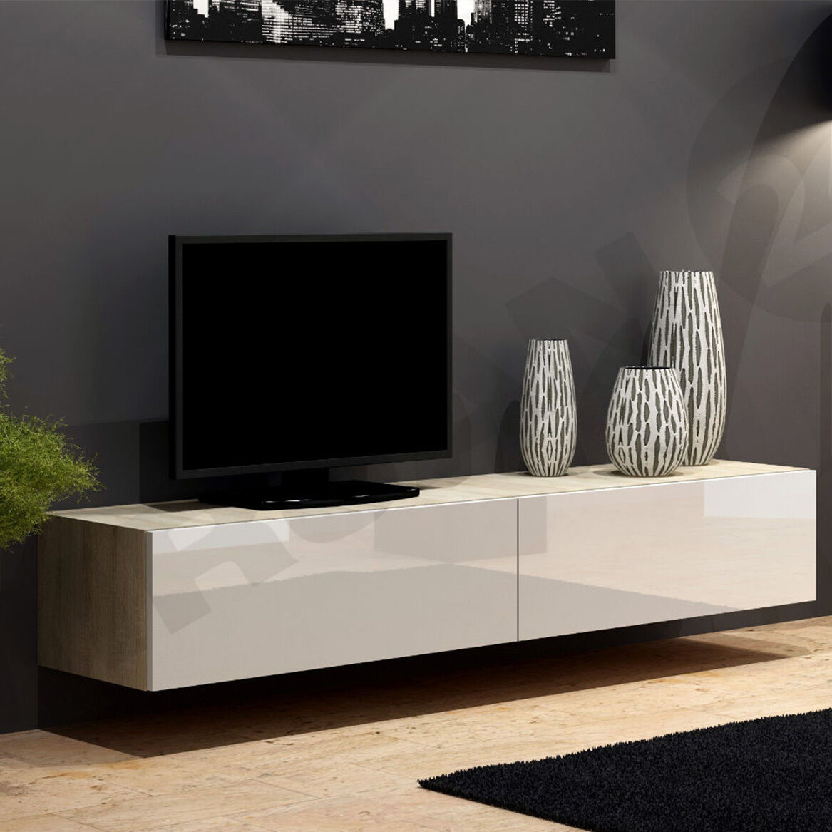 tv lowboard piore 180 board fernsehschrank h ngeschrank hochglanz matt h ngend eur 105 00. Black Bedroom Furniture Sets. Home Design Ideas