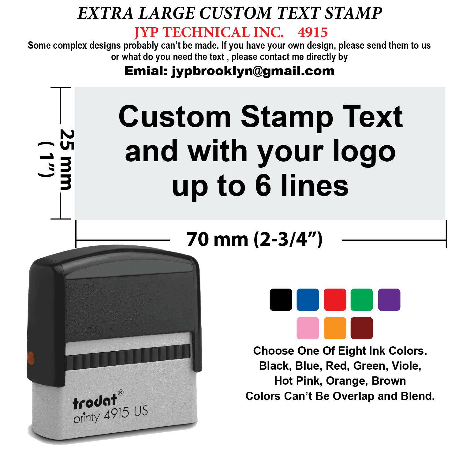 extra large trodat 4915 self inking rubber stamp custom text up to