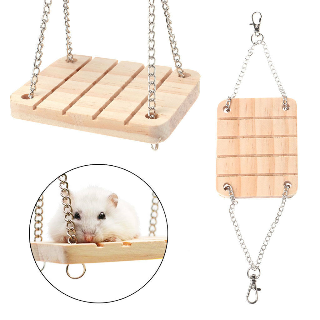 Pet Hamster Toys Wooden Swing Seesaw Rat Mouse Harness Parrot 1 Of 9only 5 Available