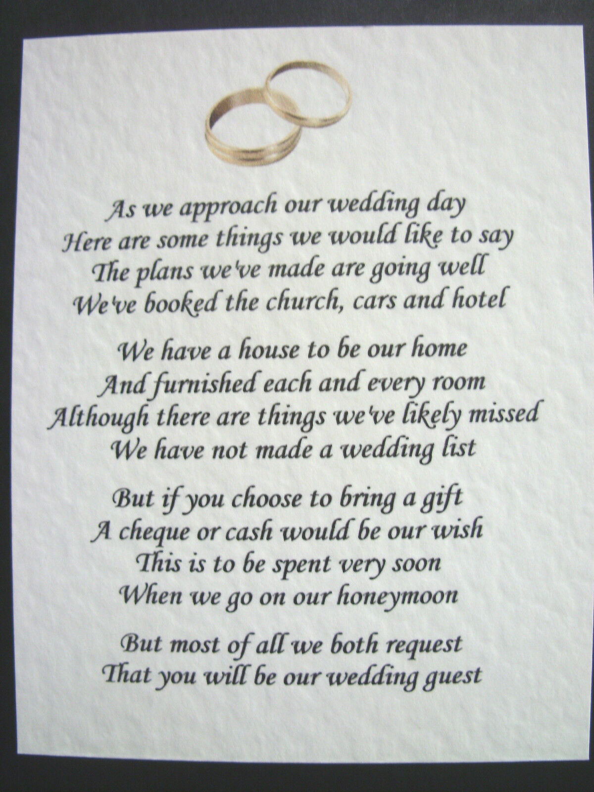 Wedding Gift For Sister Cash : ... Wedding Poem Cards Money Cash Gift Ask For Money Invitation Inserts