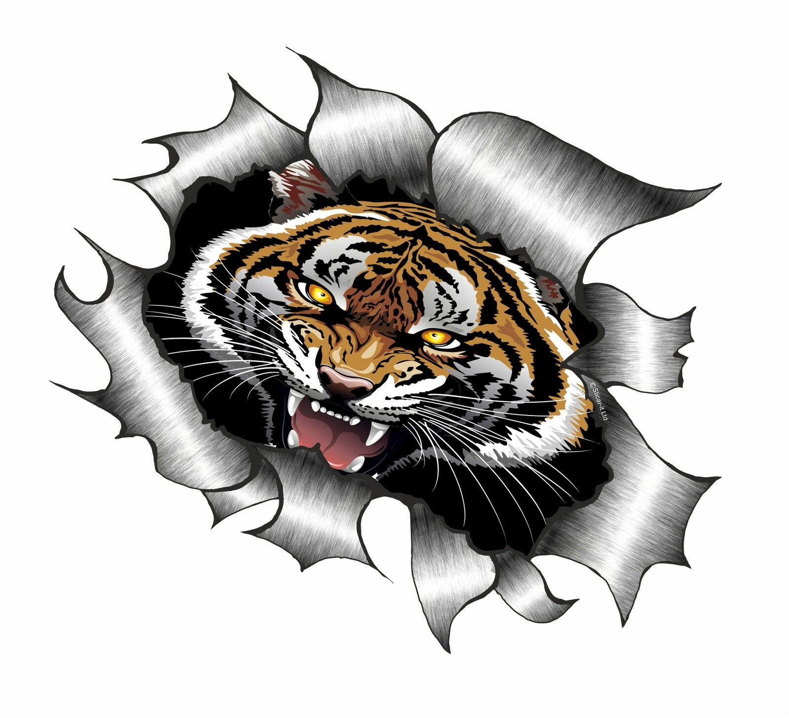 LARGE Ripped Torn Metal Look Design Roaring Bengal Tiger Design - Car sticker designripped open gash torn metal design with evil eye monster looking