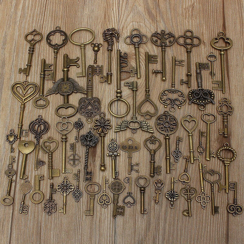 Fashion 69 Keys Set Old Antique Look Bronze Wedding Diy Set Jewelery Pendants
