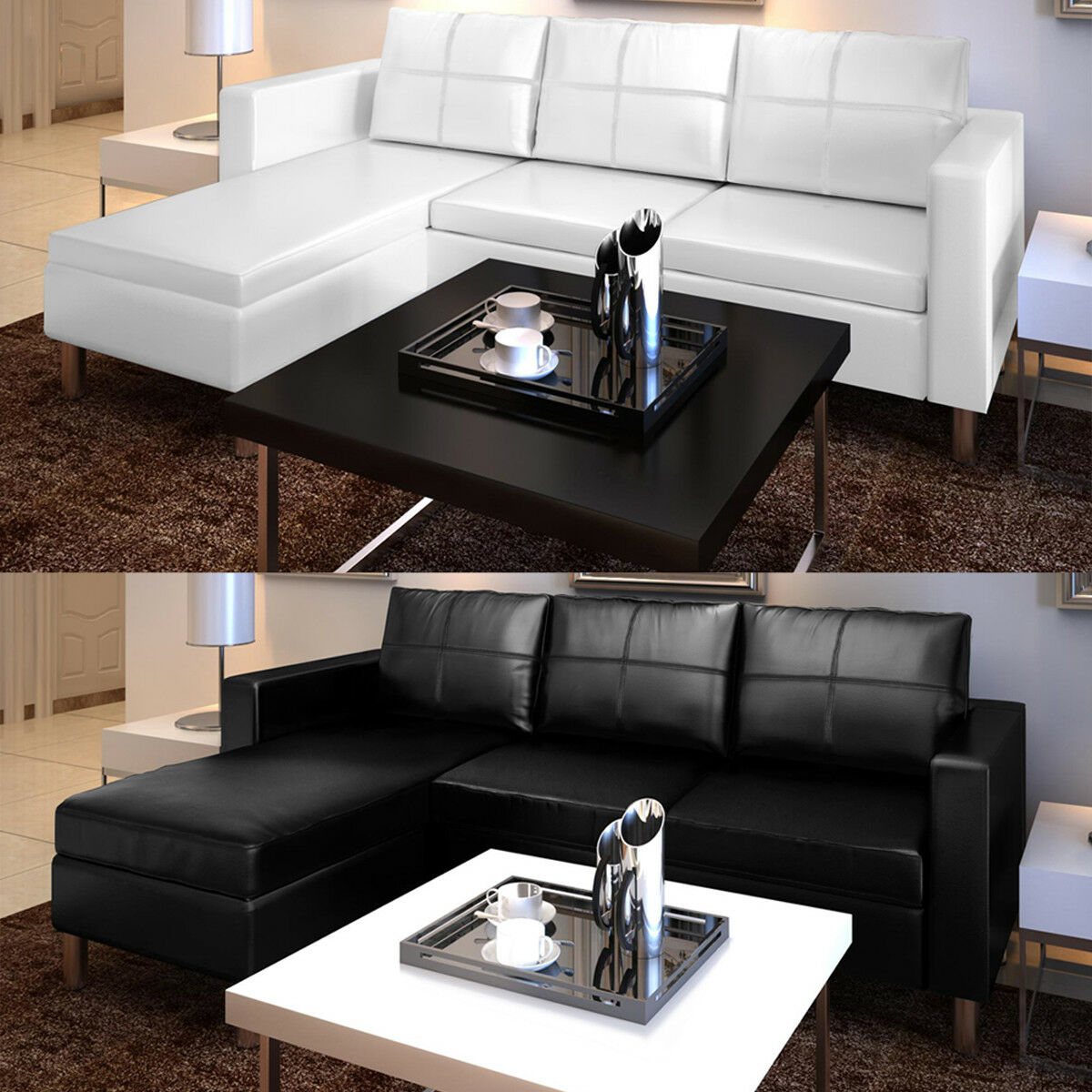 artificial leather sectional sofa configurable chaise lounge couch white black picclick. Black Bedroom Furniture Sets. Home Design Ideas