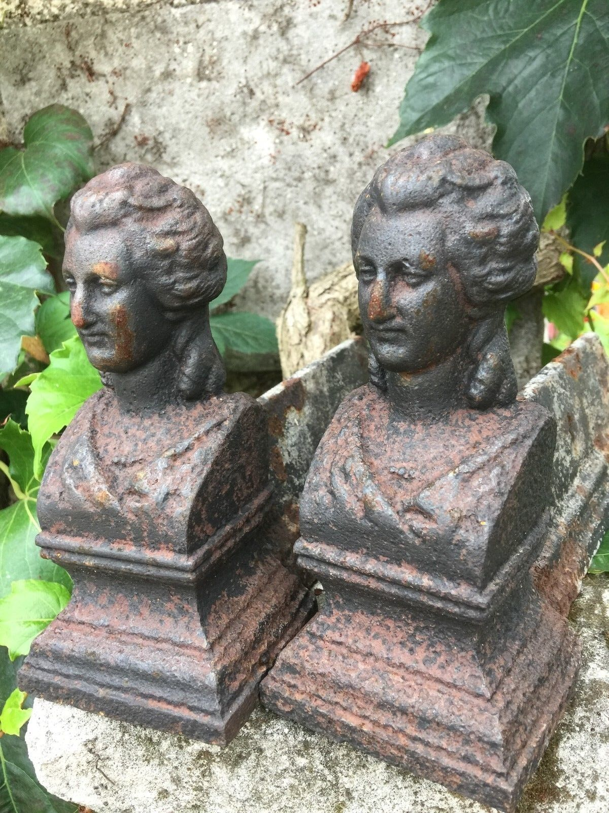 Pair French antique Firedogs cast iron Buste ladies 19th Century firepit BBQ