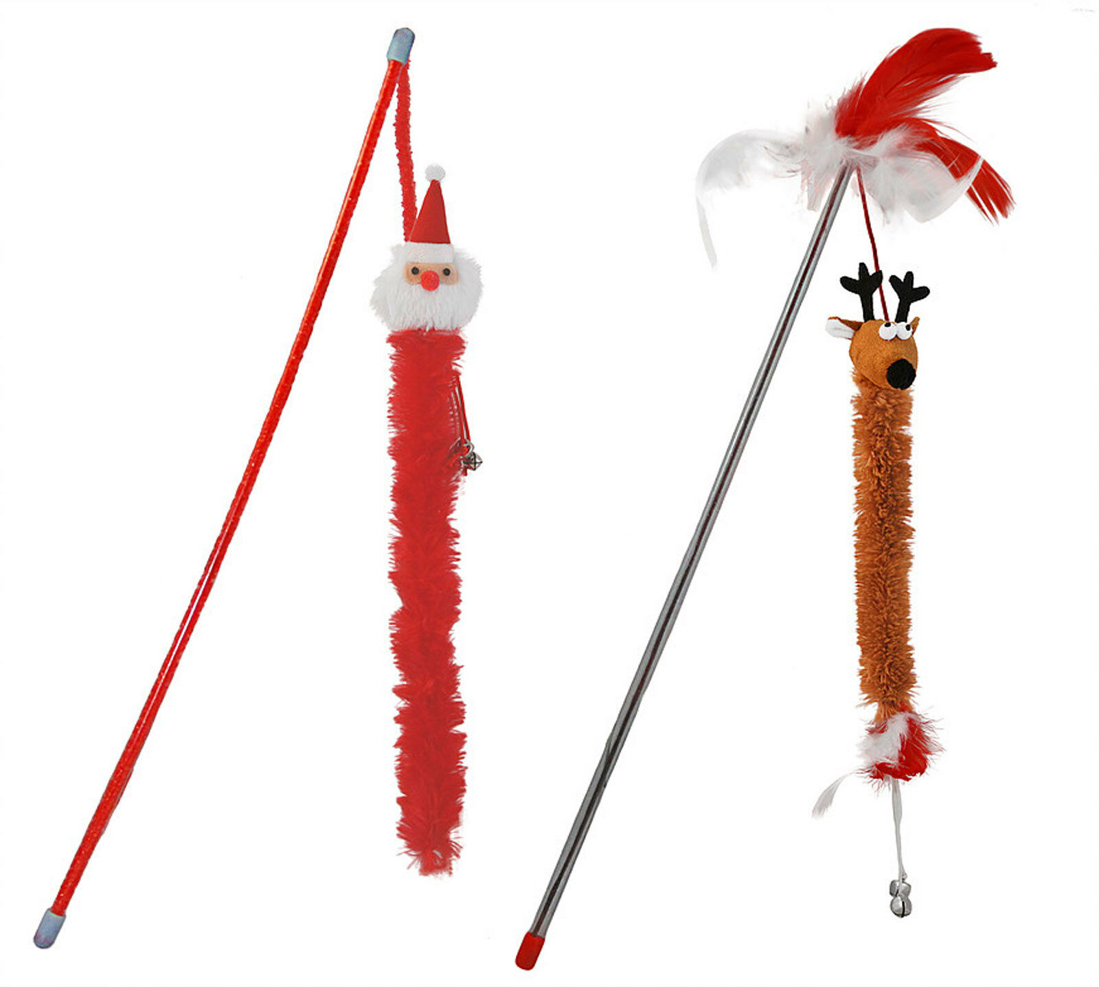 Fluffy Festive Fishing Poles Cat Dangler Toys Cat Toy For Cats and Kittens Xmas