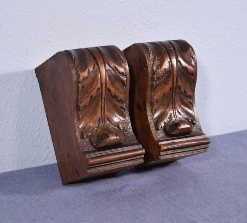 """*Pair of 5"""" French Antique Trim Pieces in Walnut Wood Corbels/Pillars/Brackets"""