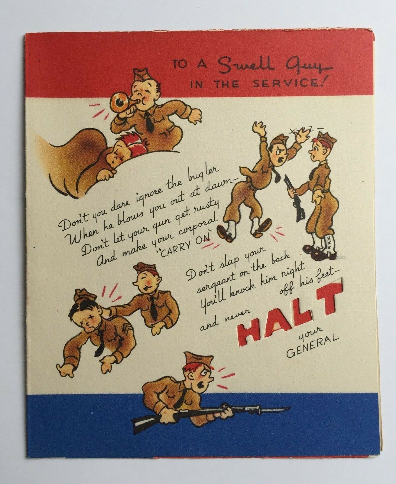 Vintage 1940s Wwii Era Greeting Card To A Swell Guy In The Service