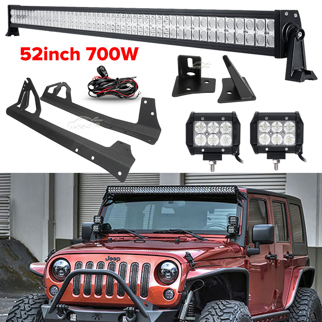 Cree 52 Inch 700w Combo 4 18w Led Light Bar Mount Brackets Fit Jeep Additionally 12v Wiring On Flood Hid Work