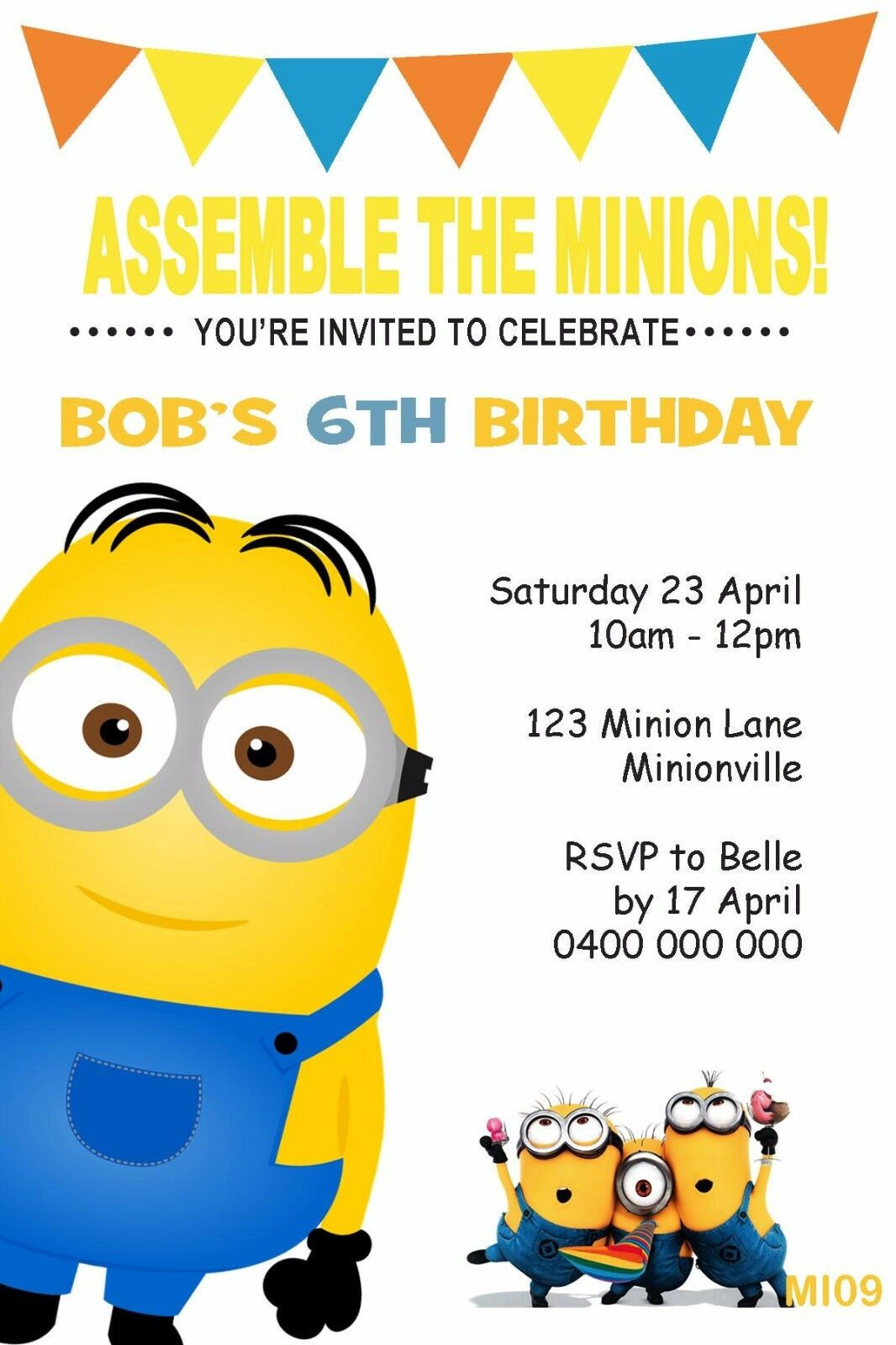 MINIONS PERSONALISED INVITATION Birthday Party Invite Despicable Me ...