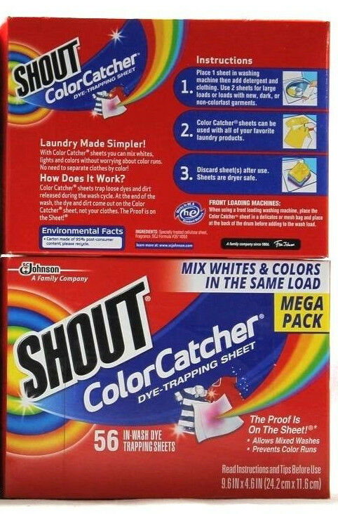 2 Sc Johnson Shout Color Catcher In Wash Dye Trapping Sheets Mega ...