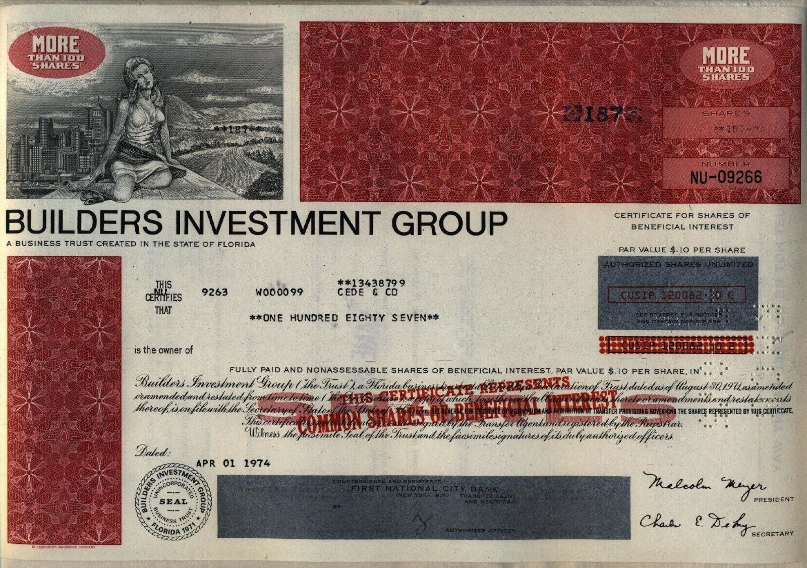Builders Investment Group Stock Certificate Real Estate 119