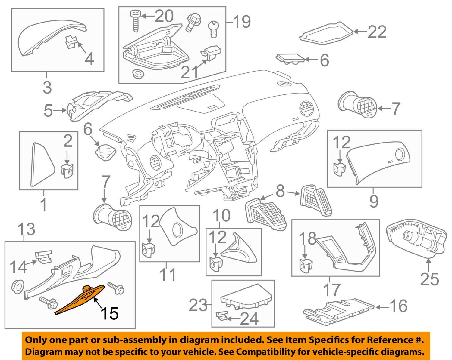 Chevrolet GM OEM 11-15 Cruze Instrument Panel Dash-Fuse Box Cover 95912938  1 of 2Only 0 available See More