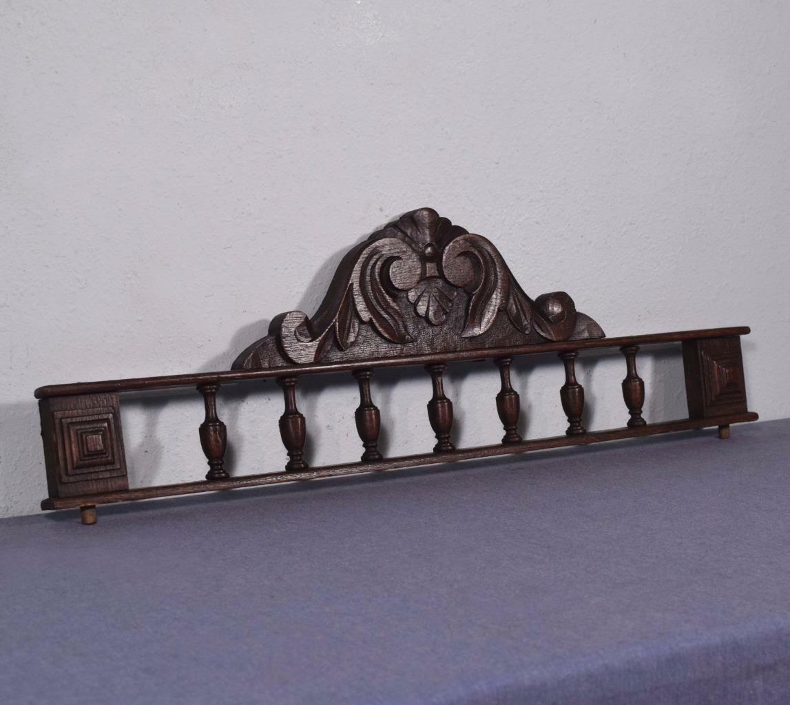 """26"""" French Antique Pediment Crown Chestnut Wood Crest with Spindles"""