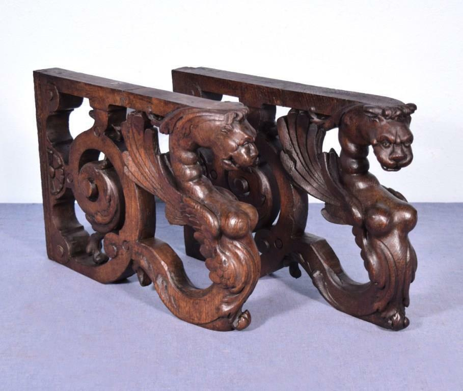 *French Antique Solid Oak Wood Statues/Pedestals w/Griffins or Lions Salvage