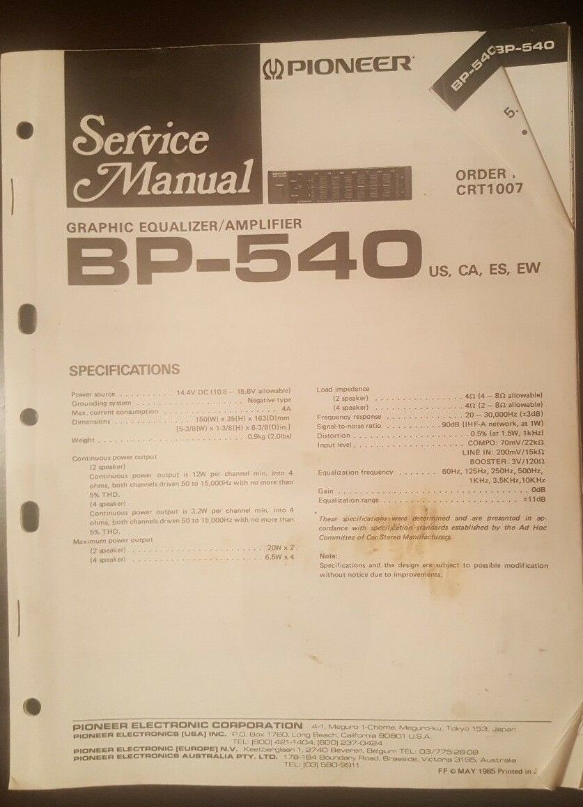 Pioneer bp 540 service manual 999 picclick 1 of 1only 1 available cheapraybanclubmaster Images