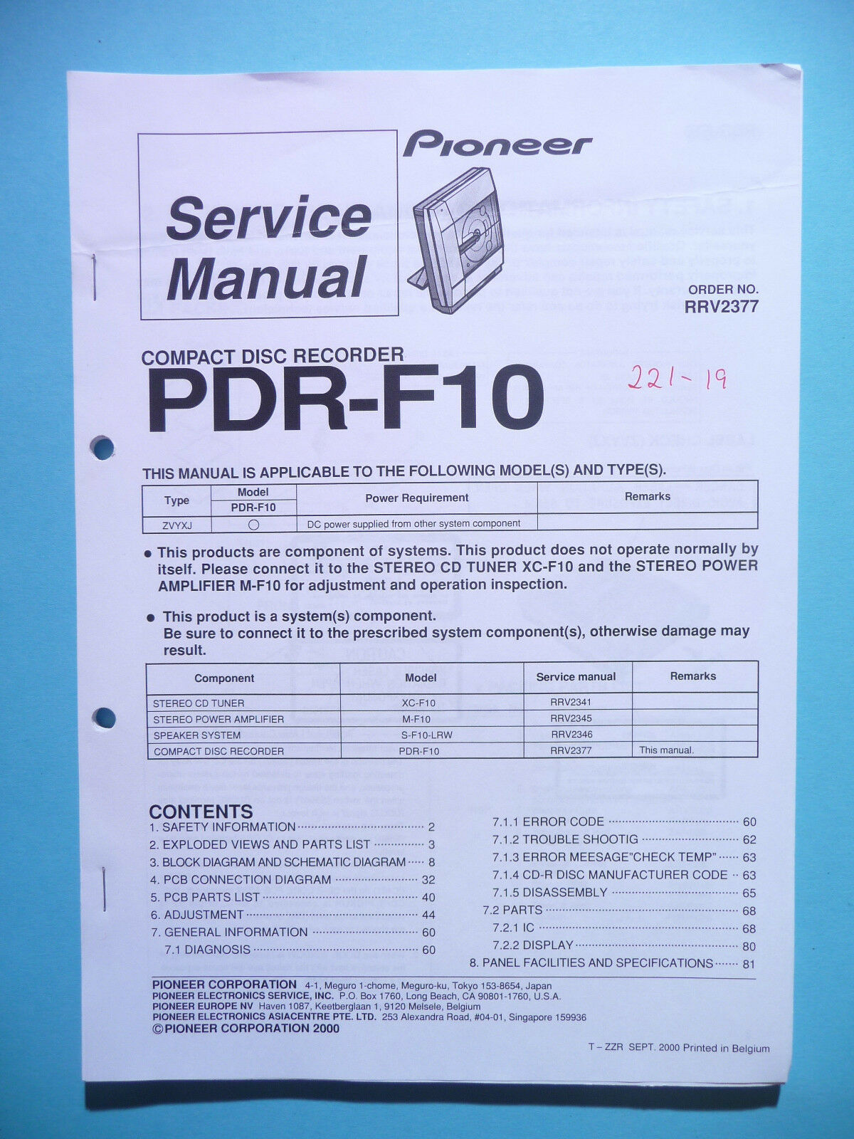Service Manual For Pioneer Pdr F10original 1797 Picclick Eq 6500 Wiring Diagram 1 Of 1only Available