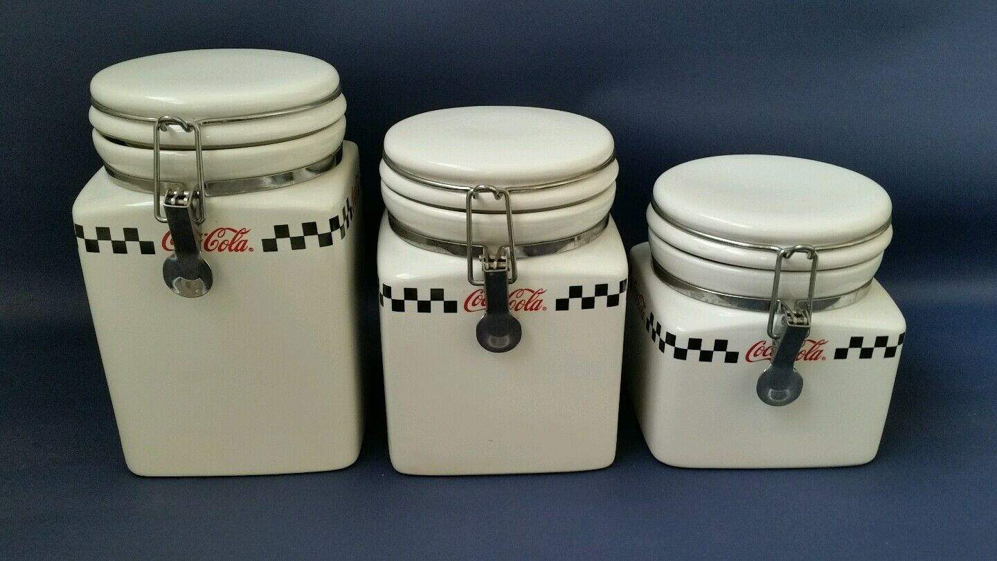 coca cola retro vintage kitchen canisters by gibson coke