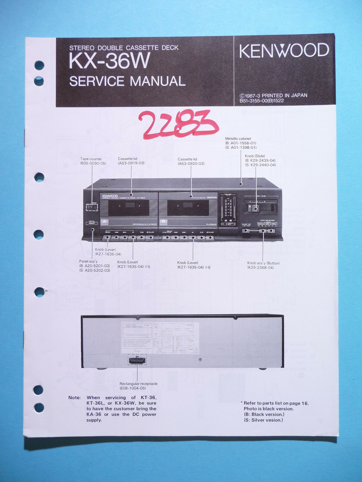Service Manual Instructions For Kenwood KX-36W ,ORIGINAL 1 of 1Only 1  available ...