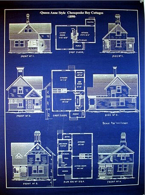 "Chesapeake Bay Cottages 1890 blue Blueprint Plans 19"" x 24"" (069)"