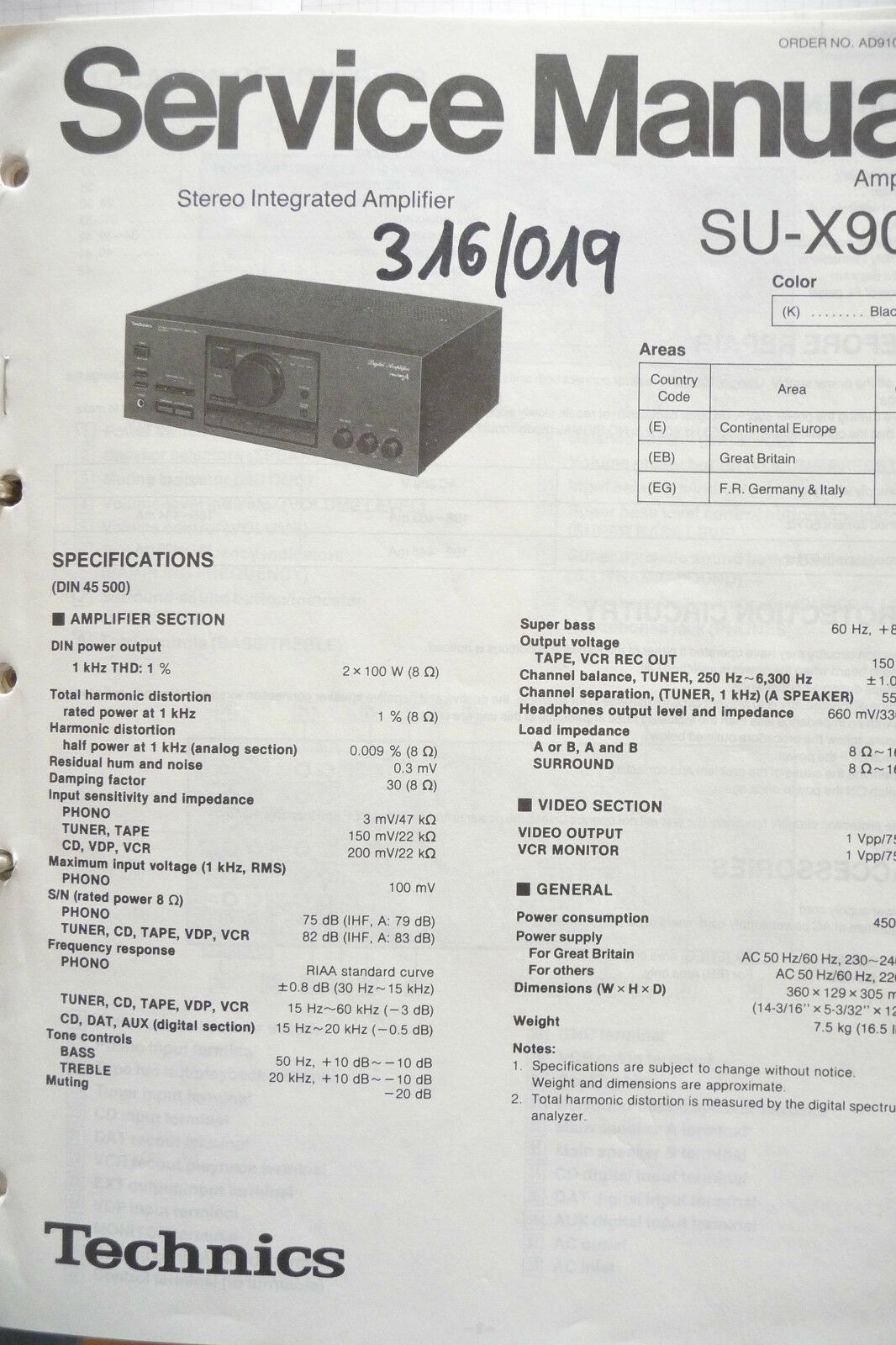 Service Manual Technics SU-X902 Amplifier,ORIGINAL 1 of 1Only 1 available  ...