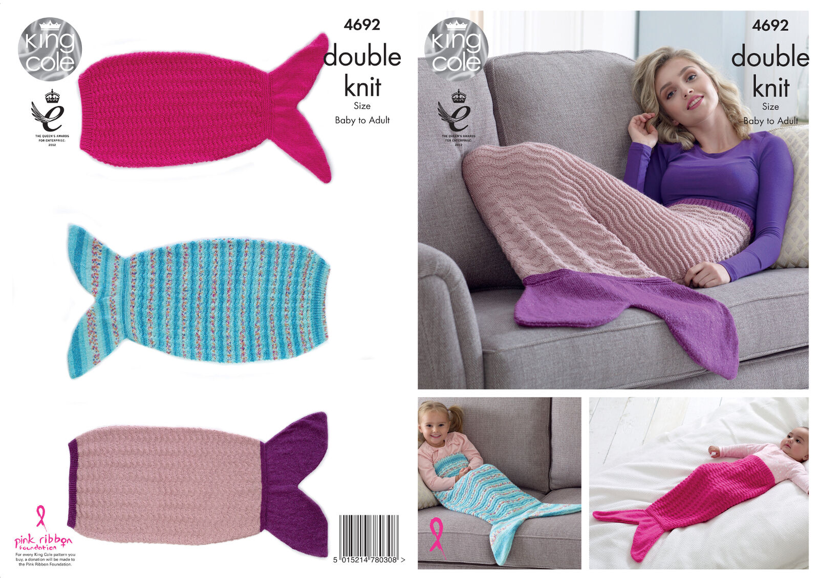Knitting Pattern Mermaid Tail For Babies : Mermaid Tail Blankets Knitting Pattern knit Baby - Adult Sizes King Cole DK 4...
